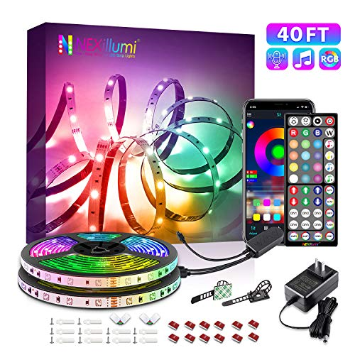 40Ft LED Strip Lights Phone App Control with IR Remote Built-in Mic Music Sync LED Lights for Bedroom, Dorm Room, Home Decoration (40Ft APP+ Remote+ Mic Control)