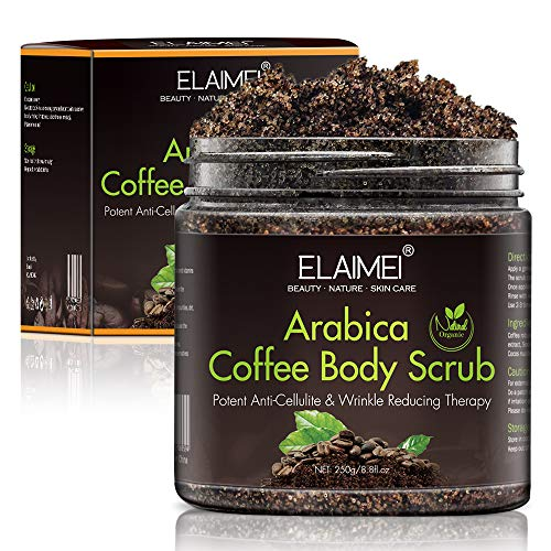 Anti cellulite Coffee Body Scrub, Cellulite removal cream,arm thigh abs tight and firming, Moisturizing Body Exfoliator, face and lip scrub (Box)