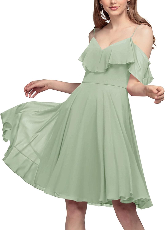 ALICEPUB Women's V Neck Chiffon Bridesmaid Dresses Short for Wedding Ruffles Summer Formal Party Dress Cocktail