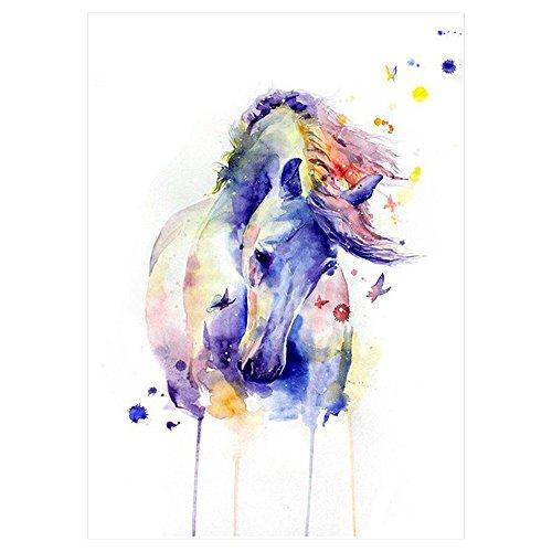 Waterkleuren aquarel paard tattoo paars roze bont/gekleurd nep tattoo eenmalig te lijmen voor lichaam KM083 waterbestendig