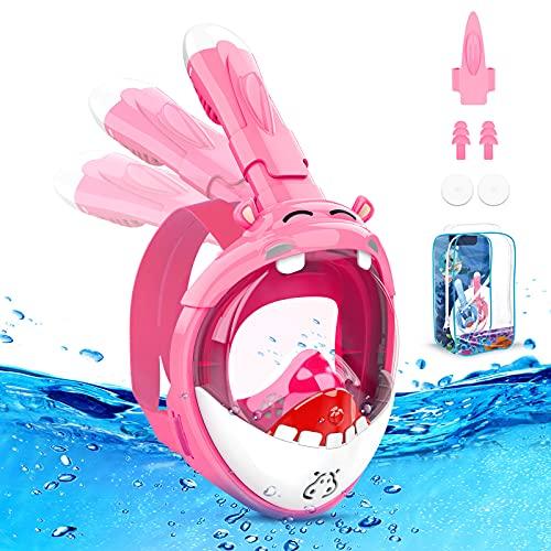 TesokyKids Mascara Buceo Niño, Diseño de Hipopótamo con Vista Panorámica de 180°, Mascara Snorkel de Seguridad Antivaho y Antifugas Plegable, Mascara de Buceo para Adulto y Niño(Rosa)