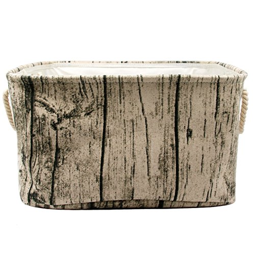 Jacone Stylish Tree Stump Design Wood Grain Rectangular Storage Basket Washable Cotton Fabric Nursery Hamper with Rope Handles, Decorative and Convenient for Kids Rooms (Large)