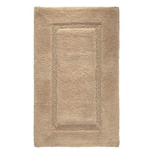 iDesign Spa tapis de bain doux, sortie de douche rectangulaire en coton, beige