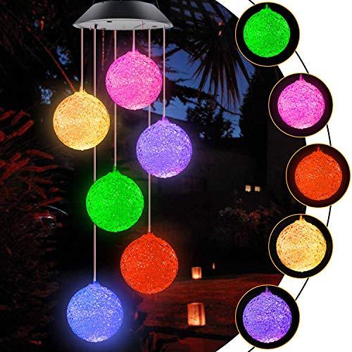 Bosdontek Campanilla de Viento Solar, Campanas de Viento LED Cambio de Color Carillón de Viento Impermeable para Interiores, Exteriores, Jardín, Patio, Ventana, Decoración del Hogar
