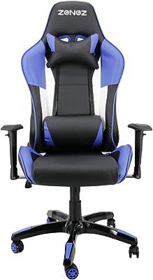 Silla Gaming Profesional PC Gamer Silla Oficina ergonomica reclinable Cuero PU con Cojín Lumbar Altura ajustable
