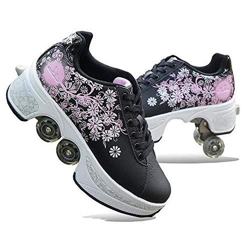 HealHeatersⓇ Multifunktionale Verstellbare Rollschuhe Skateboard Schuhe Kinderschuhe Mit Rollen, Sneaker Style, Bequem, Stilvoll,Schwarz,39