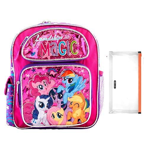 16' Little Pony Backpack My Little Pony and Friendship is Magic Book Game Fun Includes Pencil Bag and Fancy Pencils (Large 16')