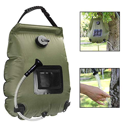 LiFun 20L Campingdusche Duschtasche Solardusche Solar Heizung Camping Dusche Tasche mit Duschkopf & On-Off Switchable, Gartendusche Pooldusche Warmwasser Shower, mit Temperaturanzeige