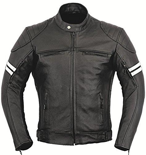 GearX Franklin Leder Motorrad Jacke Motorradfahrer Männer Schutz Mantel - schwarz, XL