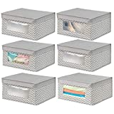 mDesign Juego de 6 cajas de tela apilables para guardar ropa y ms  Cajas con tapa medianas con...