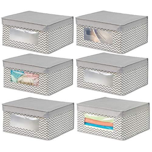 mDesign Juego de 6 cajas de tela apilables para guardar ropa y más – Cajas con tapa medianas con ventana transparente – Ideal como organizador de armarios o caja para guardar ropa – gris topo y crudo