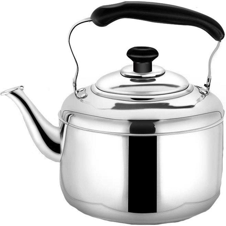 Huijunwenti 304 bouilloire gaz épaissir acier inoxydable ménage sifflet théière grande capacité cuisinière à induction cuisinière à gaz bouilloire multi-function kettle (Couleur   argent, Taille   5L)