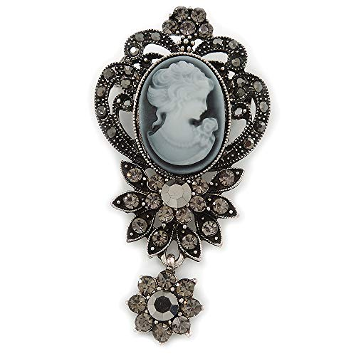 Avalaya Vintage Inspired Dark Grey/Hematite Crystal Cameo with Charm Brooch in Antique Silver Tone - 65mm L