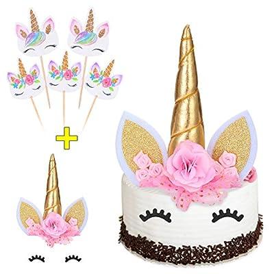 Unicorn cake topper with Eyelashes + Rainbow Unicorn Cupcake Toppers