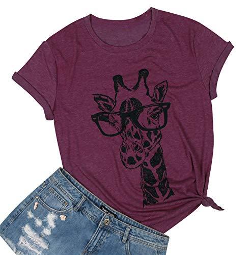 MYHALF Women#039s Fun Animal Graphic Tees Casual Short Sleeve Summer Cute Giraffe Printed TShirt Tops Dark red1 M