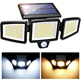 3 Head Solar Security Flood Light Outdoor with Motion Sensor, Super Bright 304 LED Solar Lights Outdoor, 360° Adjustable Solar Wall Lights, 4 Lighting Mode, Warm& Cold White, IP67 Waterproof (1 Pack)