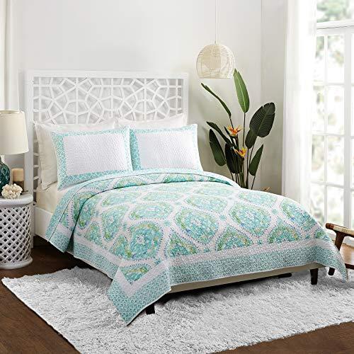 Dena Home Bohemian Breeze Quilt Set, Full Queen, Aqua