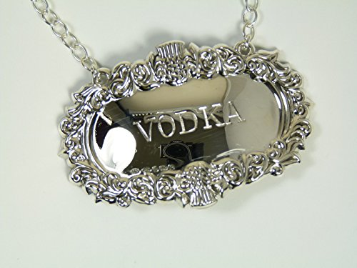 Neu Sterling Silber Distel Dekanter/Etikett - VODKA - Boxed