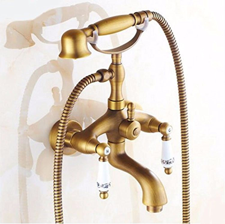 Gyps Faucet Waschtisch-Einhebelmischer Waschtischarmatur BadarmaturAlle Kupfer Antik Badewanne Armatur Dusche Wasserhahn mit Dem Wasser an der Uhr Drehen.,Mischbatterie Waschbecken