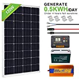 ECO-WORTHY 120W 0.5KWH/Day 12V Off Grid Complete Solar Power System Kit with Battery&Inverter: 120W Solar Panel+20A LCD Charge Controller+ 100AH 12V Lead Acid AGM Battery +1000W 12V-110V Inverter