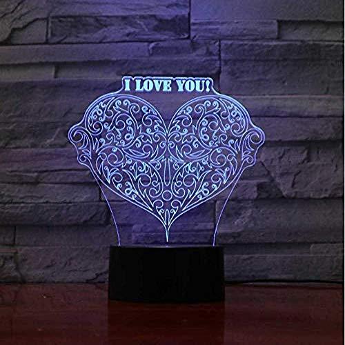 Led 3D Nachtlampje Hart Love Veelkleurige Tafellamp Novelty Acryl Craft Tafelblad Armaturen Lampn Kinderkamer
