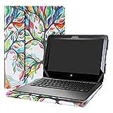 Alapmk Diseñado Especialmente La Funda Protectora de Cuero de PU para 11.6' HP ProBook x360 11 G1 EE / G2 EE / G3 EE / G4 EE Series Ordenador portátil,Love Tree
