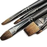 Cepillo de pintura de pelo de ardilla profesional, pintura al óleo, material escolar, pluma, pincel plano, para pintura gouache, conjunto de dibujo