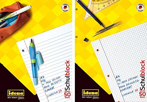 20 Schulblöcke /Schreibblöcke Mix je 10x liniert   kariert DIN A4 / 50 Blatt je Block (20er Packung, Schulblock   Mix)