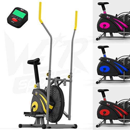 We R Sports 2-IN-1 Elliptical Cross Trainer & Exercise Bike Home Fitness Cardio Workout Machine (Yellow)