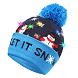 Ucradle LED Leuchten Mütze, Weihnachten Beanie für Kinder, Frauen, Herren, Warmes Weihnachtengeschenk für Xmas (Schneemann)