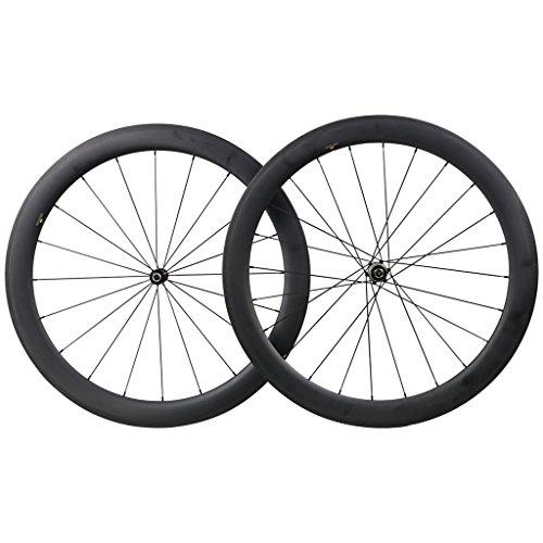 ICAN(アイカン) 700Cカーボンホイール クリンチャー、チューブレス両用 ロードバイク用 ストレートプルスポ...