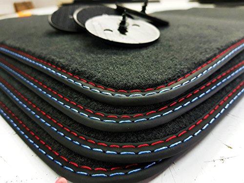 Styling Fußmatten 5er F10 F11 Bj.2010-2013 Doppelnaht rot-blau Automatten +4 Klett