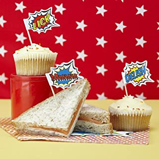 Ginger Ray 20 x Pop Art Superhero Food Flag Toppers for Birthday Cake Decoration, Mixed