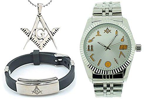 3 Piece Jewelry Set - Freemason Pendant, Bracelet & Masonic Watch - Silver Tone Steel Watch - Round Dial Watch with Artistic Working Tools Freemasonry Symbolism
