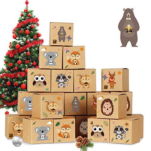 Adventskalender zum Befüllen, 24 DIY Adventskalender Kisten Set, mit 24 Waldtiere Zahlenaufklebern, Weihnachtskalender Bastelset, Adventskalender Selber Basteln für Kinder