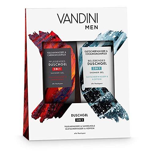 VANDINI Duschgel Set für Männer - Pflegeduschgel mit Vulkanwasser & Sandelholz - Duschgel mit Gletscherwasser & Koffein - Herren Duschgel für alle Hauttypen geeignet (2x 200 ml)