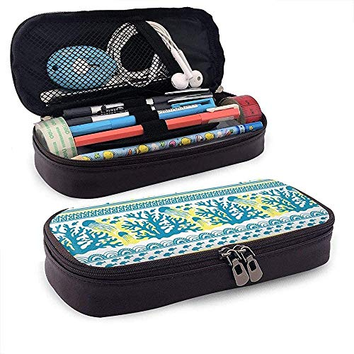 Estuche Lápices Stripe with Sea Underwater Leather Cute Pencil Case - Pencil Pouch Stationery Organizer Makeup Bag Perfect Holder