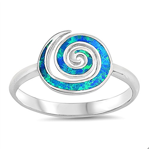 Blue Simulated Opal Spiral Knuckle Cocktail Ring .925 Sterling Silver Band