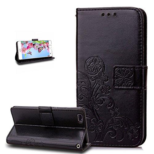 Ikasus Étui portefeuille pour Huawei P8 Lite Motif trèfle fleur en cuir PU avec support pour cartes de crédit Noir