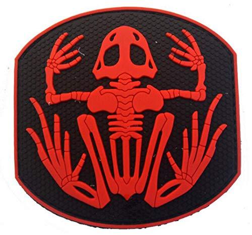 Ohrong Navy Seals Skeleton Frog Devgru 3D PVC Tactical Morale Patch Rubber Schedel Bone Badge Armband Embleem Applique met Haak Backing Rood