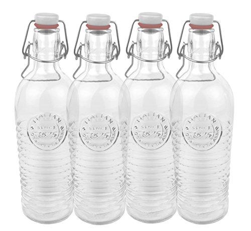4 Pièces en verre - 1825 officina cannelées 1,2 litre bouteille avec bouchon mécanique et décor en relief