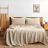 "Bedsure Linen Sheets Set Queen Size - 100% Linen Bed Sheets Deep Pocket Sheets, Breathable Bedding Set, Washed French Linen Sheet ( Natural, 90""x102"" )"