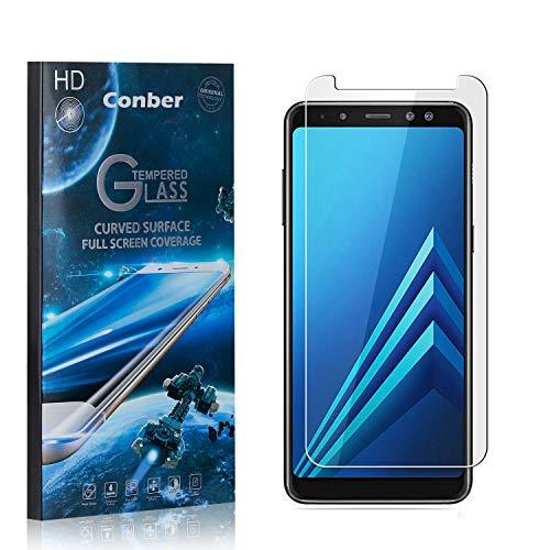 Conber [1 Pièces] Verre Trempé pour Samsung Galaxy A8 Plus 2018, [9H Dureté][sans Bulles][Haut Définition] Ultra-résistant Film de Protection écran pour Samsung Galaxy A8 Plus 2018