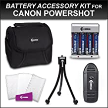 Clearmax AA Rechargeable Batteries Accessory Kit for Canon Powershot SX20 IS SX20 A1200 SX130IS SX130 IS SX150IS SX150 IS Camera Includes Camera Carrying Case + AA Battery & Charger Set + LCD Screen Protectors + Mini Tabletop Tripod + Card Reader