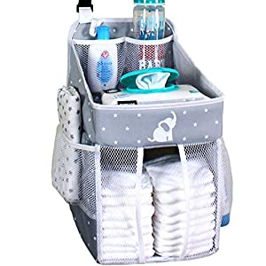 Hanging Diaper Caddy – Crib Diaper Organizer – Diaper Stacker for Crib, Playard or Wall – Newborn Boy and Girl Diaper Holder for Changing Table – Baby Shower Gifts- Elephant Gray – 17x9x9 inches