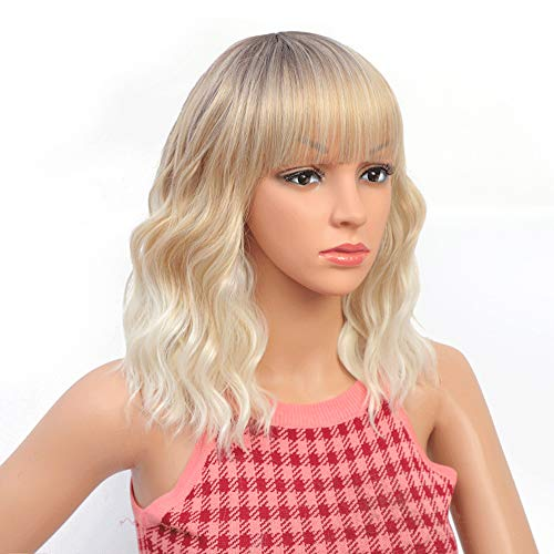 Pastel Wavy Wig With Air Bangs black Charming Wig for Women Mixed Blonde Shoulder Length Pastel Bob Synthetic Cosplay Wig for Girl Colorful Costume Wigs (R6/30/27/60#)
