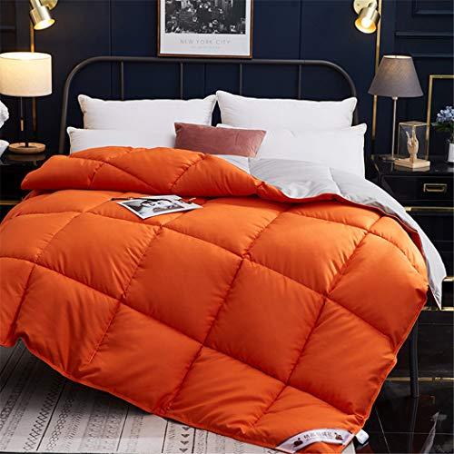 KIHUGL Luxury Filling White Goose Down Quilt Comforter Winter Warm Soft Pure Cotton Duvet Cover Single Twin Queen King Size orange 150x200cm 2500g