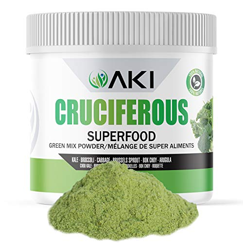 AKI Natural Cruciferous Superfood Blend Powder Made of Kale, Broccoli, Cabbage, Brussels Sprout, Bok Choy, Arugula, Ideal to Boost Greens Veggie Smoothie Supplements Vitamins Phytonutrient 5.3oz/ 150G