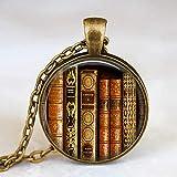 Niaofeces Collares Colgantes Collar De Moda Biblioteca Vintage Y Collar para Estudiantes Profesores Y Bibliotecarios Collar-15