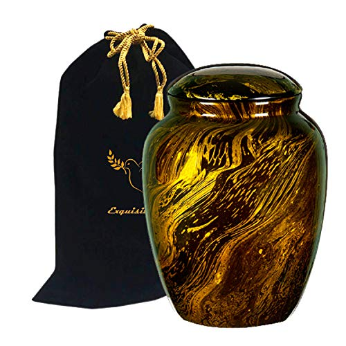 Exquisiteurns Fiber Glass Cremation Urn - Marbling Adult Urn - Handcrafted Light weighed Adult Funeral Urn for Ashes - Great Deal Free Velvet Bag and Ash Bag (Gold)